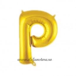 "Balon "" Litera P "" Shiny Gold Slim"