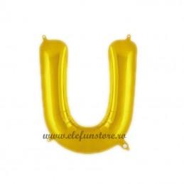 "Balon "" Litera U "" Shiny Gold Slim"