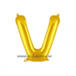 """Balon """" Litera V """" Shiny Gold Slim"""