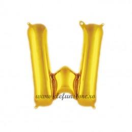 "Balon "" Litera W "" Shiny Gold Slim"
