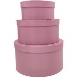 Set 3 cutii rotunde roz...