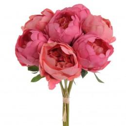Bujori roz inchis 7 fire 27cm