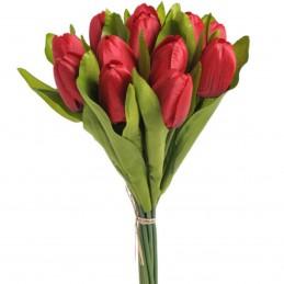 Buchet 12 lalele rosii 35 cm