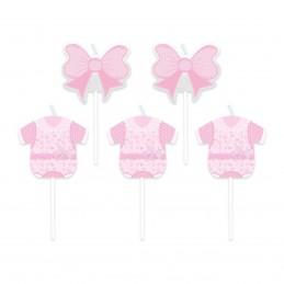 Set 5 lumanari roz Baby Girl
