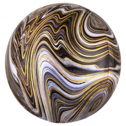 Balon Sfera 3D Marble Negru...