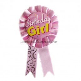Insigna Roz Scris BIRTHDAY GIRL
