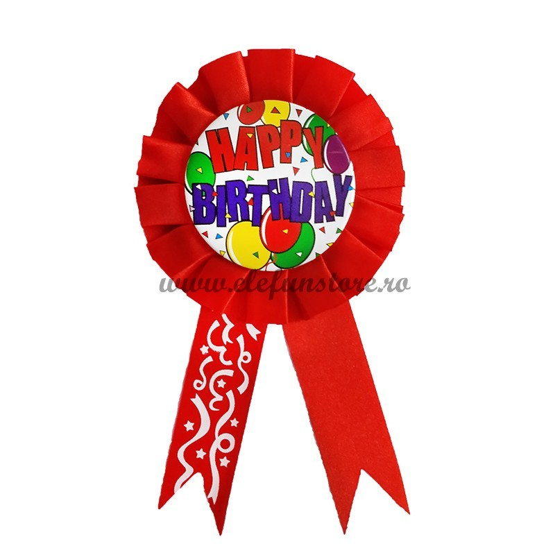Insigna Rosie Scris HAPPY BIRTHDAY