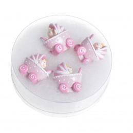 Set 4 carucioare roz 3D din...