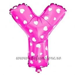 "Balon "" Litera Y "" Roz cu Inimioare"