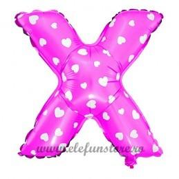 "Balon "" Litera X "" Roz cu Inimioare"