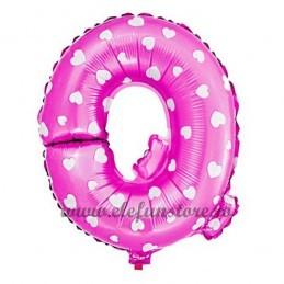 """Balon """" Litera Q """" Roz cu Inimioare"""