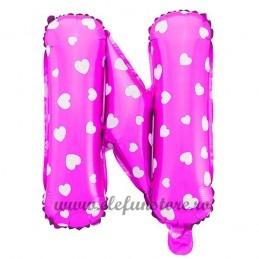 """Balon """" Litera N """" Roz cu Inimioare"""