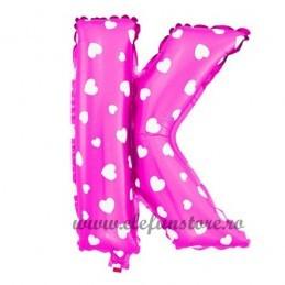 "Balon "" Litera K "" Roz cu Inimioare"