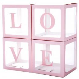 Set 4 cuburi LOVE roz 30 cm