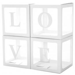 Set 4 cuburi LOVE albe 30 cm