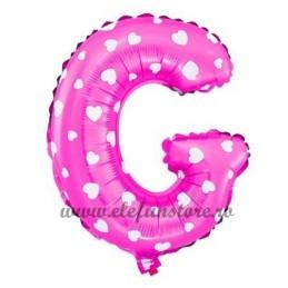 "Balon "" Litera G "" Roz cu Inimioare"
