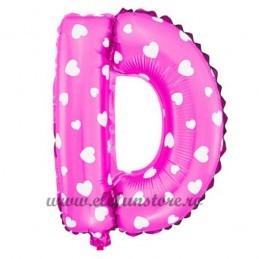 "Balon "" Litera D "" Roz cu Inimioare"