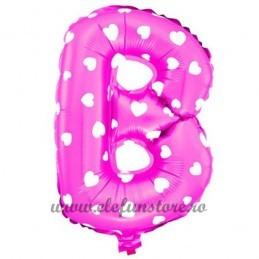 """Balon """" Litera B """" Roz cu Inimioare"""
