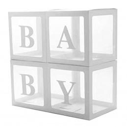 Set 4 cuburi BABY albe 30 cm