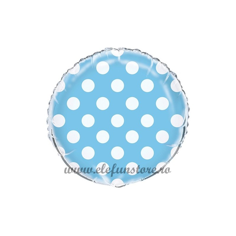 Balon Rotund Albastru cu Buline Albe  45cm