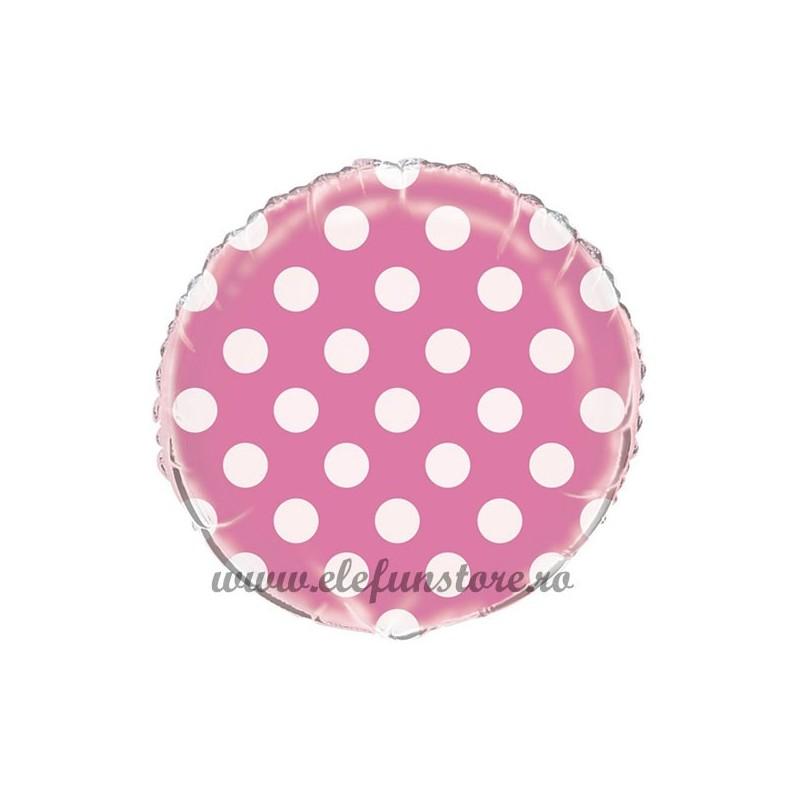 Balon Rotund Roz cu Buline Albe  45cm