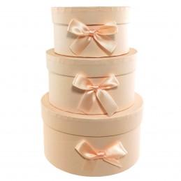 Set 3 cutii rotunde blush...