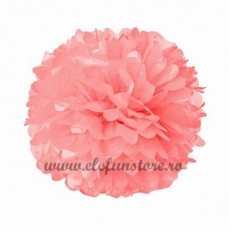 Floare Pom Pom Coral 25 cm