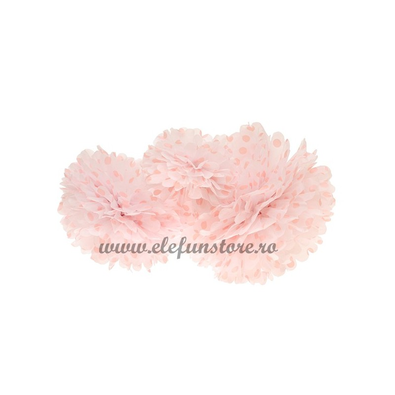 Floare Pom Pom Buline Roz 25 cm