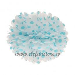 Floare Pom Pom Buline Bleu 25 cm