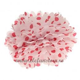 Floare Pom Pom Buline Rosii 25 cm