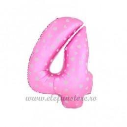 Balon Cifra 4 Roz Inimioare 40cm