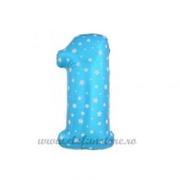 Balon Cifra 1 Bleu Stelute 40cm
