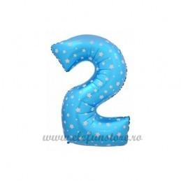 Balon Cifra 2 Bleu Stelute 40cm