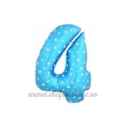 Balon Cifra 4 Bleu Stelute 40cm