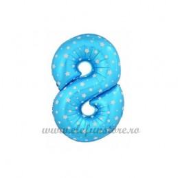 Balon Cifra 8 Bleu Stelute 40cm