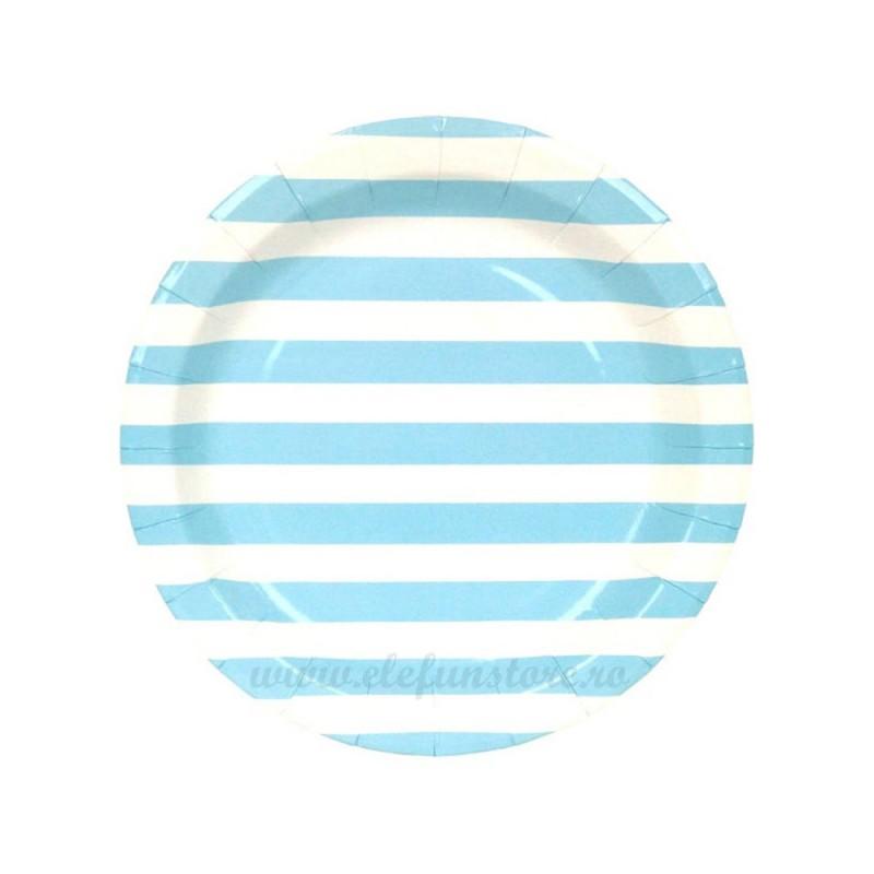 Set 6 farfurii Albastre cu Dungi