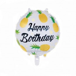 Balon Ananas Gold Happy Birthday