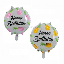Balon Ananas Roz Happy Birthday