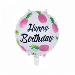 Balon Ananas Roz Happy Birthday
