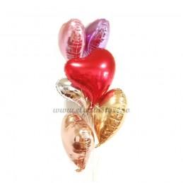 Balon Inima Curbata Roz Metalizat
