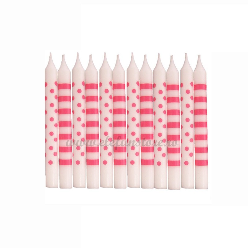 Set 12 lumanari cu buline si dungi rosii