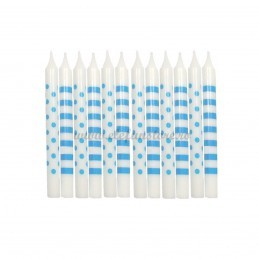 Set 12 lumanari cu buline si dungi bleu