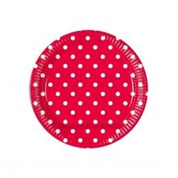 Set 12 farfurii Rosii cu Buline 23cm