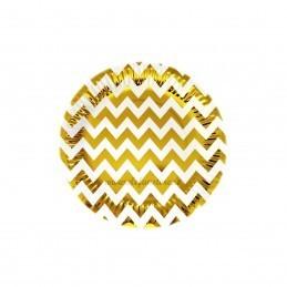 Set 12 farfurii Aurii Chevron 18cm