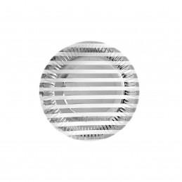 Set 12 farfurii Argintii cu Dungi 18cm
