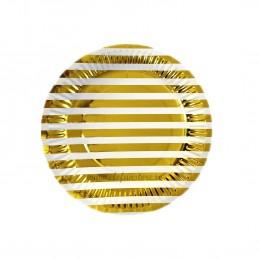 Set 12 farfurii Aurii cu Dungi 23cm
