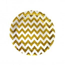 Set 12 farfurii Aurii Chevron 23cm