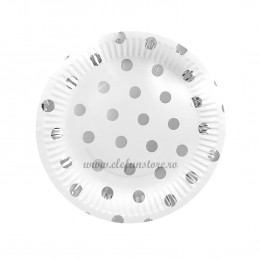 Set 12 farfurii Argintii cu Buline 23cm