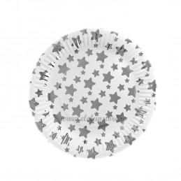 Set 12 farfurii Argintii cu Stelute 23cm