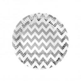 Set 12 farfurii Argintii Chevron 23cm